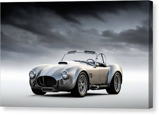Sports Cars Canvas Print - Silver Ac Cobra by Douglas Pittman