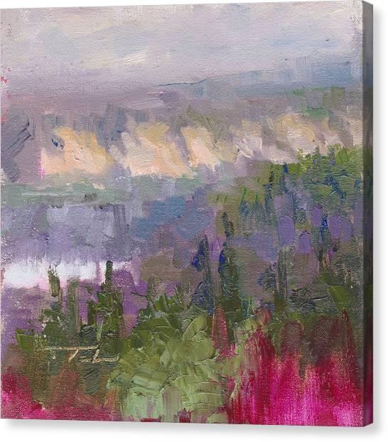 Silver And Gold - Matanuska Canyon Cliffs River Fireweed Canvas Print