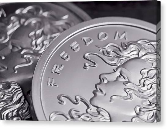 Coins Canvas Print - Silver Bullion Freedom Girl by Tom Mc Nemar