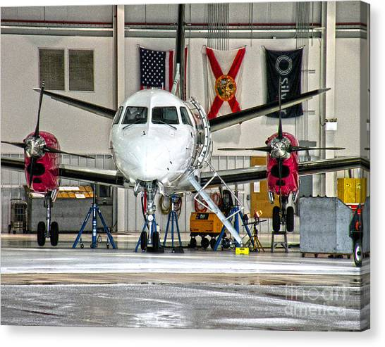 Prop Planes Canvas Print - Silver Flags Hdr by Diane E Berry