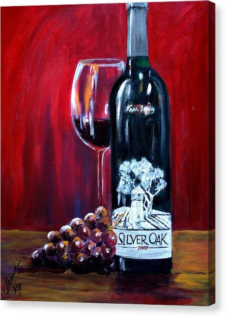 Silver Oak Of Napa Valley And Grape Canvas Print