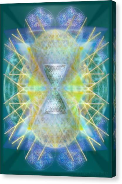 Silver Torquoise Bright Chali-cell-ring Flower Of Life Matrix Canvas Print