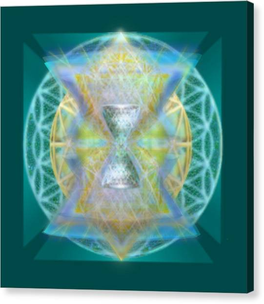 Silver Torquoise Chalice Matrix II Subtly Lavender Lit On Gold N Blue N Green With Teal Canvas Print