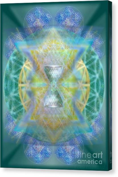 Silver Torquoise Chalicell Ring Flower Of Life Matrix Canvas Print