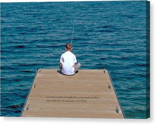 Simple Fishing W/scripture Canvas Print