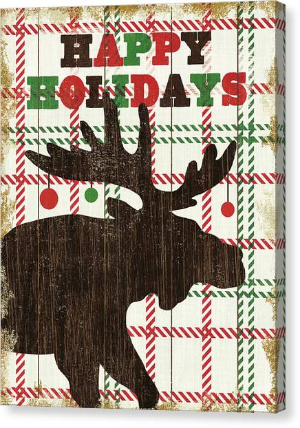 Plaid Canvas Print - Simple Living Holiday Moose by Michael Mullan