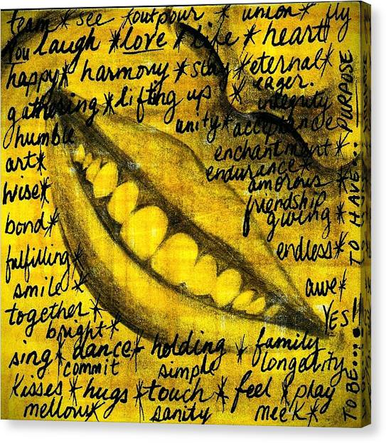 Draw Canvas Print - Simply Smile And Your Golden Virtues Will Be Written All Over You by Artist RiA