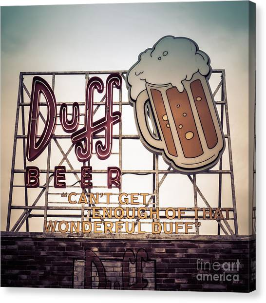 Beer Canvas Print - Simpsons Duff Beer Neon Sign by Edward Fielding