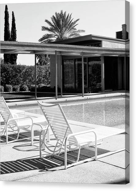 Spring Trees Canvas Print - Sinatra Pool Bw Palm Springs by William Dey