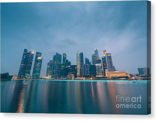 Singapore Skyline Canvas Print - Singapore 03 by Tom Uhlenberg