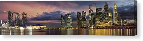 Singapore City Skyline At Sunset Panorama Canvas Print