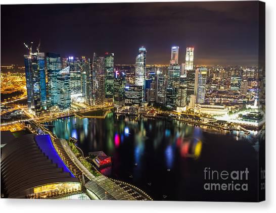Singapore Skyline Canvas Print - Singapore City Skyline by Fototrav Print