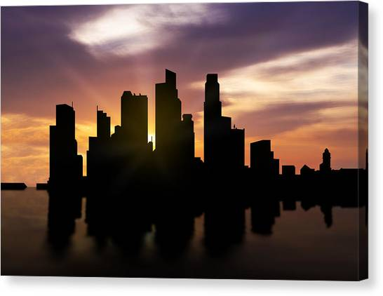 Singapore Skyline Canvas Print - Singapore City Sunset Skyline  by Aged Pixel