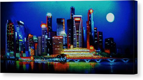 Singapore In Black Light Sold Canvas Print