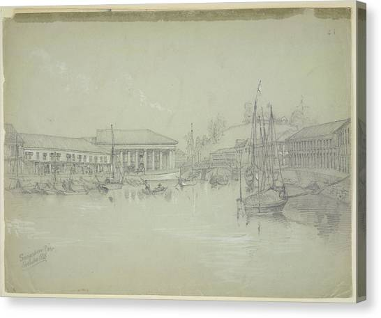 Warehouses Canvas Print - Singapore River by British Library