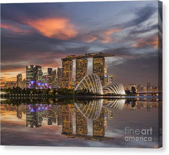 Singapore Skyline Canvas Print - Singapore Skyline Beautiful Sunset by Colin and Linda McKie