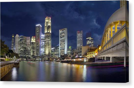 Singapore Skyline From Boat Quay Canvas Print