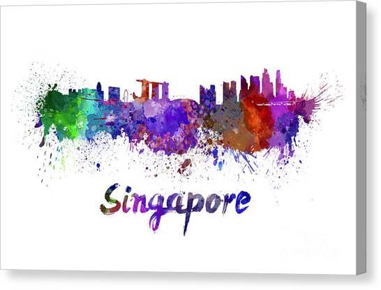 Singapore Skyline Canvas Print - Singapore Skyline In Watercolor by Pablo Romero