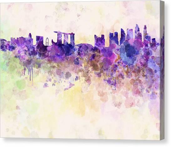 Singapore Skyline Canvas Print - Singapore Skyline In Watercolour Background by Pablo Romero