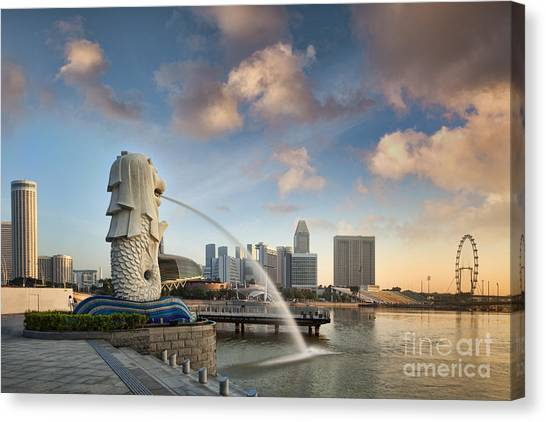 Singapore Skyline Canvas Print - Singapore The Merlion At Sunrise by Colin and Linda McKie