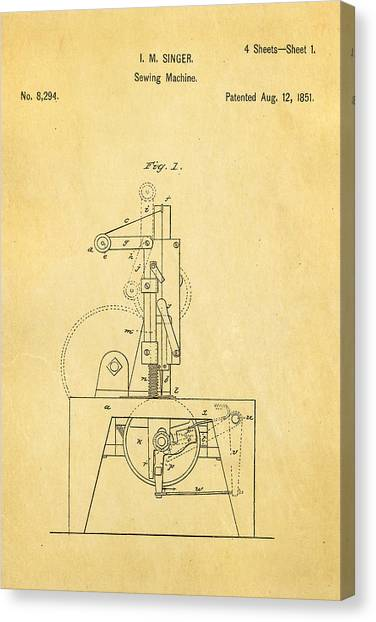 Sewing Machines Canvas Print - Singer Sewing Machine Patent Art 1851  by Ian Monk
