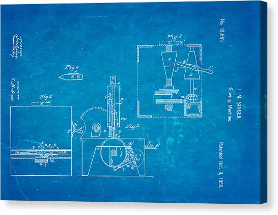 Sewing Machines Canvas Print - Singer Sewing Machine Patent Art 1855 Blueprint by Ian Monk