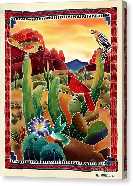 Woodpeckers Canvas Print - Singing In The Desert Morning by Harriet Peck Taylor
