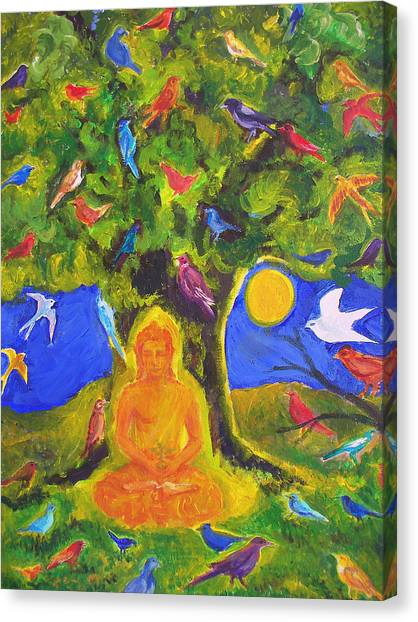 Buddha And The Birds Canvas Print