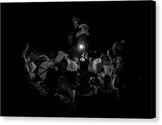 Drum Canvas Print - Singing To The Night by Angel Bernaldo De