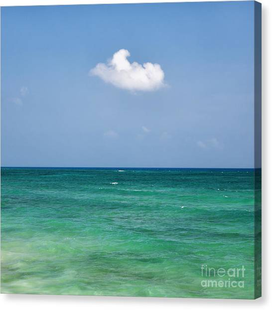 Single Cloud Over The Caribbean Canvas Print