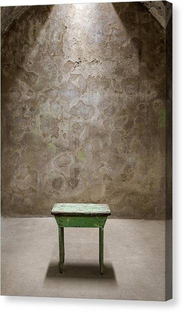 Green Table Canvas Print by Maureen Fahey
