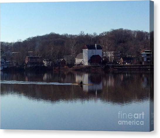 Single Scull On The Delaware Canvas Print