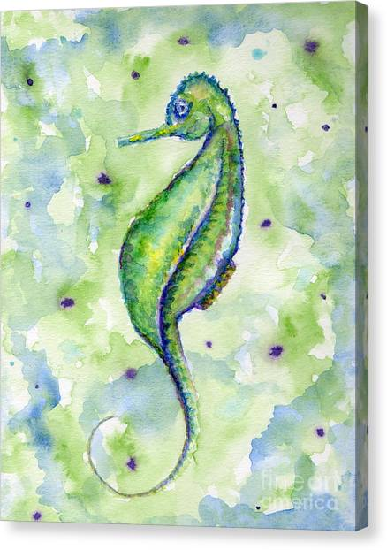 Single Seahorse Blues Canvas Print