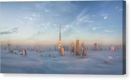 Dubai Skyline Canvas Print - Sinking In Fog by Khalid Jamal