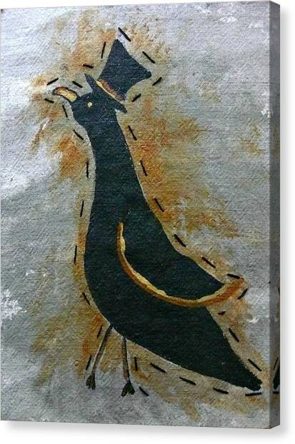 Sir Crow Tophat Canvas Print by Laura Heilman