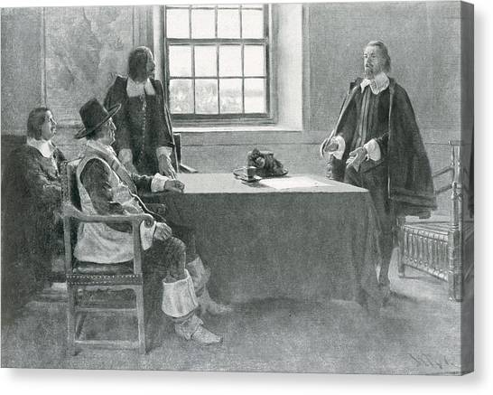 Submission Canvas Print - Sir William Berkeley Surrendering To The Commissioners Of The Commonwealth, Illustration From In by Howard Pyle