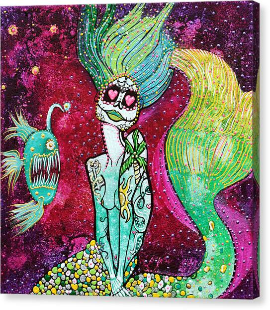 Angler Art Canvas Print - Siren Of The Sea by Laura Barbosa