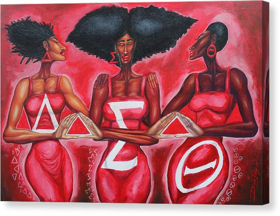 Delta Sigma Theta Canvas Print - Sisterly Love Delta Sigma Theta by The Art of DionJa'Y
