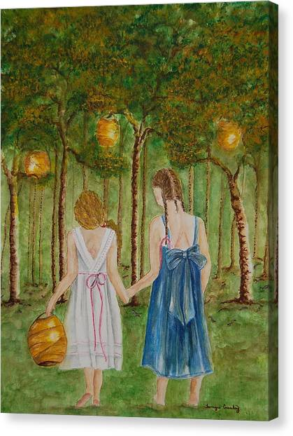 Sisters At Twilight Canvas Print