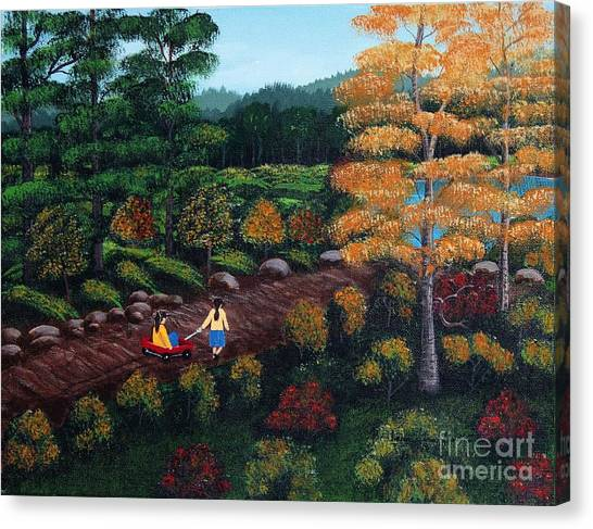 Big Sister Canvas Print - Sister's Autumn Stroll by Barbara Griffin