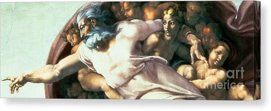 Italian Rennaissance Canvas Print - Sistine Chapel Ceiling Creation Of Adam by Michelangelo Buonarroti