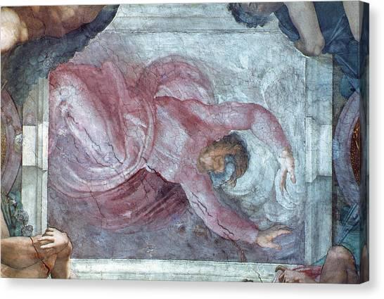 Old Testament Canvas Print - Sistine Chapel Ceiling God Dividing Light From Darkness Pre Restoration by Michelangelo Buonarroti