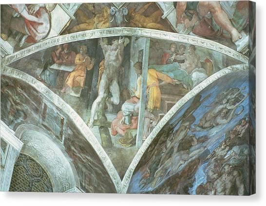 Old Testament Canvas Print - Sistine Chapel Ceiling Haman Spandrel Pre Restoration by Michelangelo Buonarroti