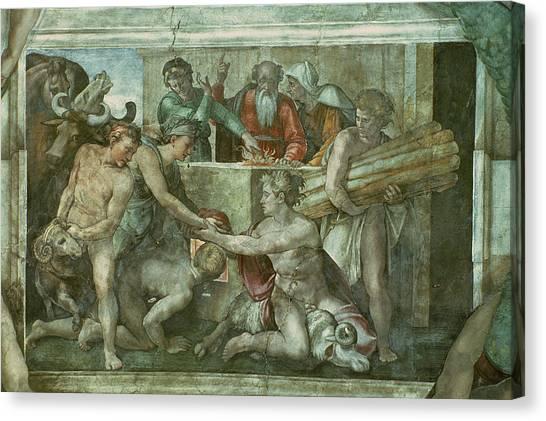 Old Testament Canvas Print - Sistine Chapel Ceiling Noah After The Flood Pre Restoration by Michelangelo Buonarroti