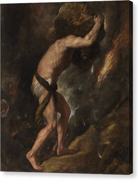 Canvas Print featuring the painting Sisyphus by Titian