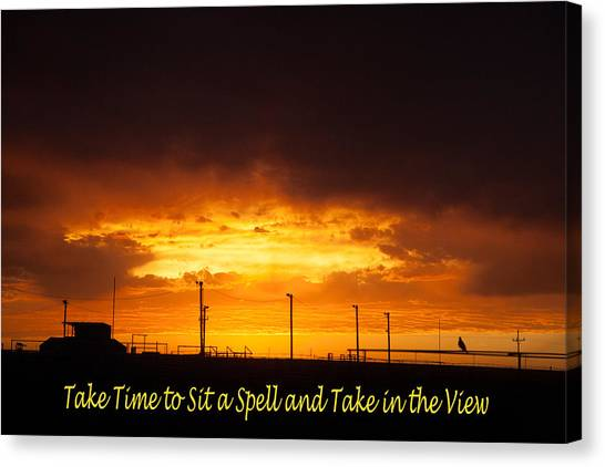 Sit A Spell Sunset Canvas Print