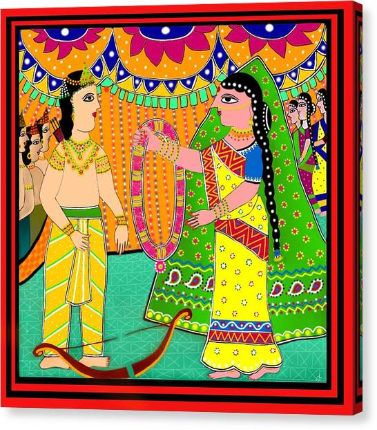 Diwali Canvas Print - Sita's Wedding by Latha Gokuldas Panicker
