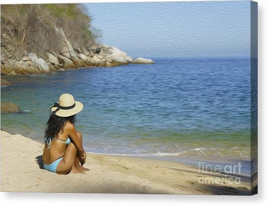 Bikini Canvas Print - Sitting At The Beach by Aged Pixel