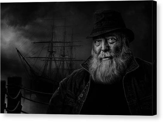 Sailboat Canvas Print - Sitting At The Dock Of The Bay by Claude Brazeau