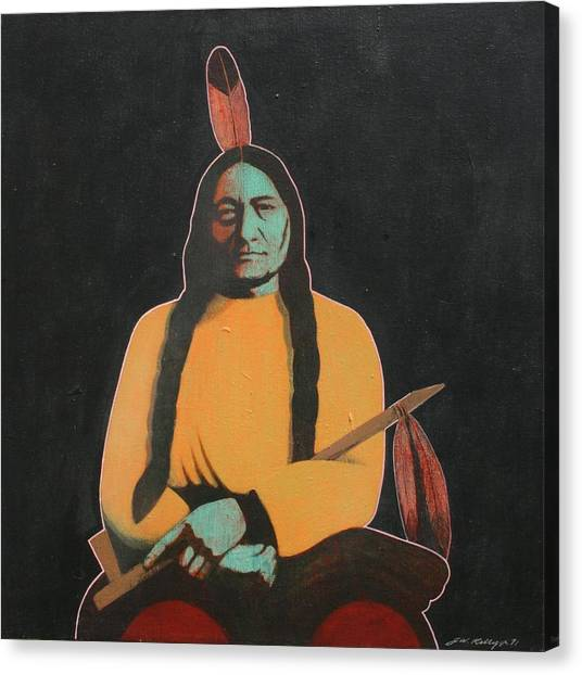 Sitting Bull Canvas Print by J W Kelly